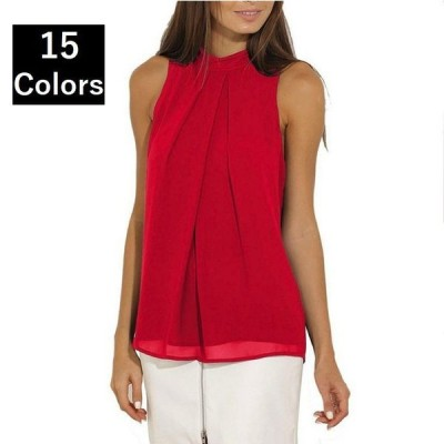 シフォンフロントタックシャツ ホルターネック ノースリーブ 15色 6サイズ レディース 女性 オフィス フォーマル 可愛い エレガント 上品 クラシ