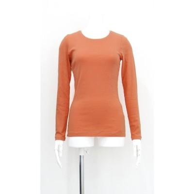 カットソー 無地 綿 コットン 100% 丸襟 長袖 オレンジ レディース Sサイズ
