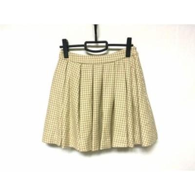 アディアム ADEAM スカート サイズ4 XL レディース 美品 ブラウン×アイボリー 千鳥格子【中古】20200610