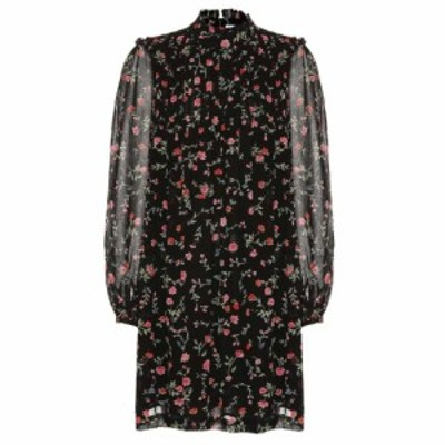 ガニー Ganni レディース ワンピース ワンピース・ドレス Floral crepe minidress black