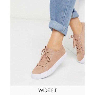 エイソス レディース スニーカー シューズ ASOS DESIGN Wide Fit Dizzy lace up sneakers in warm beige