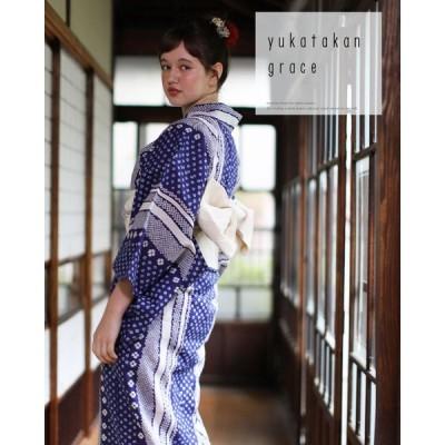 浴衣 レディース 3点セット(浴衣/帯/下駄) 紺 ネイビー 白 ホワイト 花柄 縞 ストライプ
