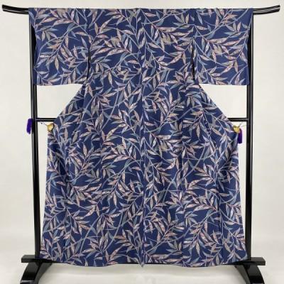 小紋 美品 秀品 葉柄 花 金彩 藍色 袷 身丈160cm 裄丈66cm M 正絹 中古