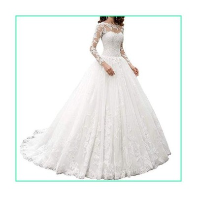 Women's A-line Appliques Wedding Dress with Long Sleeves 2019 Sweetheart Wedding Gowns Bride Dress Ivory並行輸入品
