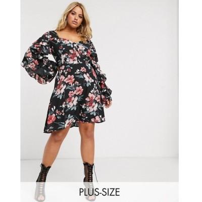 ミスガイデッド レディース ワンピース トップス Missguided Plus floral square neck midi dress with ruffle sleeves