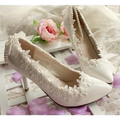 ウェディングシューズ レディース靴 パンプス  美脚 フラットシューズ ハイヒール 履きやすい 春秋 結婚式 二次会