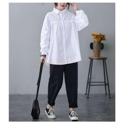 シャツ ホワイトシャツ トップス ホワイト ロング 白 レディース 長袖 フリル 体型カバー ゆったり 大きいサイズ シンプル 着痩せ 通勤 通学