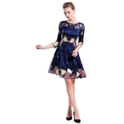 結婚式 ドレス S-3L グレー 予約 気品溢れ 花柄 配色 刺繍 Aライン ワンピース YMS-0098 送料無料 フォーマル 膝丈 大きいサイズ 15号