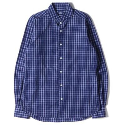 Maker's Shirt 鎌倉 メーカーズ シャツ カマクラ シャツ ホリゾンタルカラー チェックシャツ ネイビー ブルー M 【メンズ】【中古】【美
