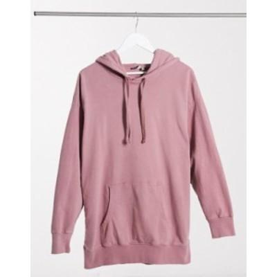エイソス レディース パーカー・スウェット アウター ASOS DESIGN oversized panelled hoodie in washed pink Pink