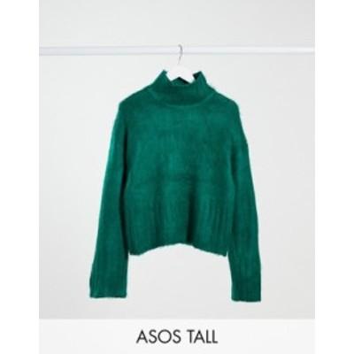 エイソス レディース ニット・セーター アウター ASOS DESIGN Tall fluffy boxy high neck sweater in green Green