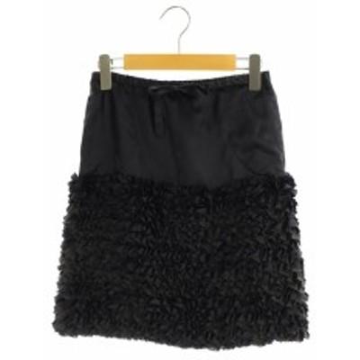 【中古】ドゥロワー Drawer スカート フリル切替 シルク混 台形 膝丈 36 紺 /AO ■OS ■SH レディース