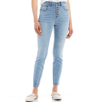エーラブズエー レディース デニムパンツ ボトムス Button Up Skinny Denim Jeans
