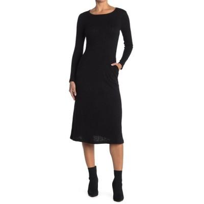 メロデイ レディース ワンピース トップス Knit Slub Crew Neck Long Sleeve Midi Dress BLACK