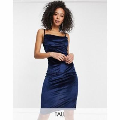 パリジャン Parisian Tall レディース ワンピース キャミワンピ ワンピース・ドレス Velvet Cami Strap Midi Dress With Cowl Neck In Na