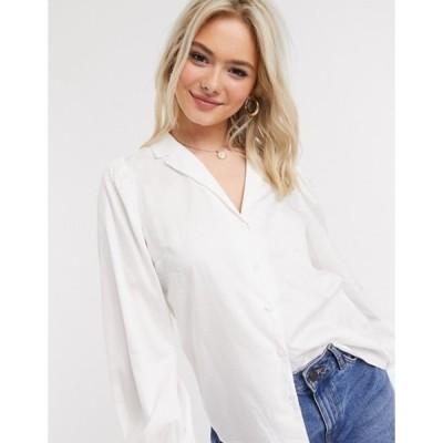 ミスセルフフリッジ レディース シャツ トップス Miss Selfridge poplin tie front shirt in white