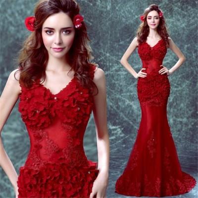 格安ウェディングドレス花嫁結婚式 小さいサイズ パーティードレス大きいサイズお呼ばれドレス マーメイドラインセクシー花柄ドレスロング 司会者ドレスライン