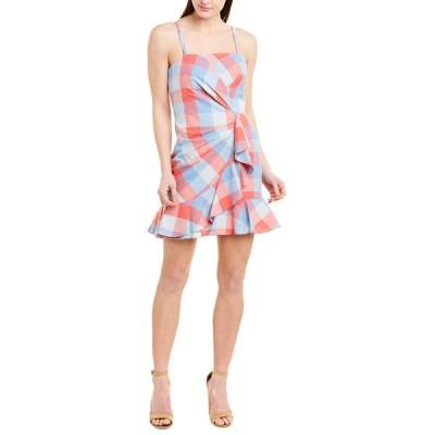 パーカー ワンピース トップス レディース Parker Flynn Linen-Blend Mini Dress red and blue plaid