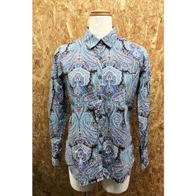 LANDS' END ランズエンド 9 レディース 若干薄手 シャツ 長袖 ペイズリー柄 バティック柄 綿100% 青系×パッションピンク系×紺など