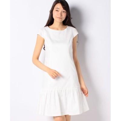 MISS J/ミス ジェイ シャンブレーデニム ギャザー切り替えドレス ホワイト 40