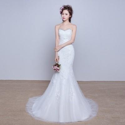 ウェディングドレス マーメイドライン ウエディングドレス 安い 花嫁 ロングドレス 披露宴 マーメイドドレス 二次会 結婚式 ブライダル マーメイドラインドレス