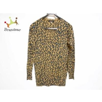 レキップ ヨシエイナバ 長袖セーター サイズ38 M レディース 美品 ベージュ×黒×ブルー 豹柄 新着 20200422