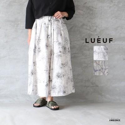 SALE セール 40%OFF LUEUF ルフ リネンフラワープリントスカート レディース 送料無料 ホワイト ベージュ c-a 日本製