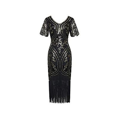 BABEYOND 1920年代 フラッパードレス フリンジギャツビードレス Roaring 20年代 スパンコール ビーズドレス US サイズ: Sm