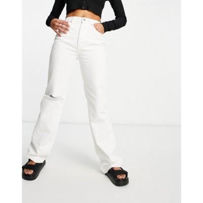 プル&ベアー Pull&Bear レディース ジーンズ・デニム ボトムス・パンツ 90's straight leg jeans in white ホワイト