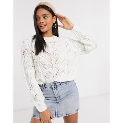 ピーシーズ レディース ニット&セーター アウター PIECES sweater with knitted pattern in cream Cream