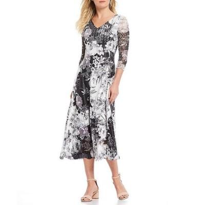 コマロフ レディース ワンピース トップス Lace Sleeves Pleated Charmeuse Floral Print A-Line Dress