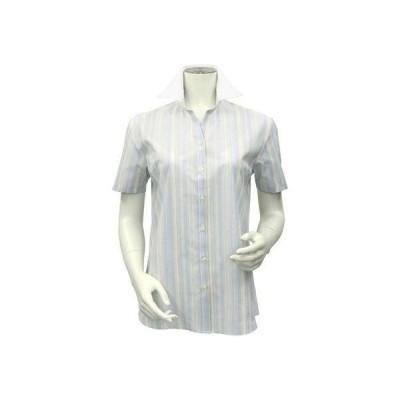 トーキョーシャツ TOKYO SHIRTS 形態安定ノーアイロン スキッパー衿  半袖ビジネスワイシャツ (ライトブルー)