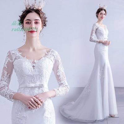 ウェディングドレス 長袖 安い aラインドレス 二次会 花嫁 パーティードレス ホワイト 結婚式 ロングドレス シンプルドレス ブライダル 披露宴