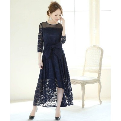 ドレス 総レースリボンテールミディ丈の結婚式お呼ばれオケージョンフォーマル対応ワンピースドレス
