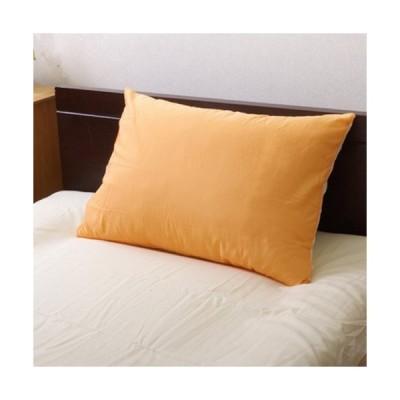 イケヒコ まくらカバー 無地 洗える リバーシブル 「リバ枕カバー63IT」 オレンジ/ライトベージュ 約43×63cm シンプル オレンジ 9803065  -お取り寄せ品-