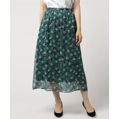 スカート ドットフラワーギャザースカート