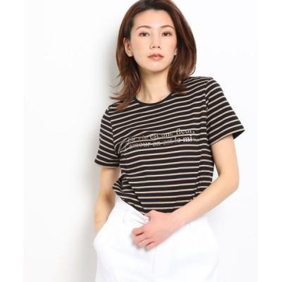 COUP DE CHANCE/クードシャンス 【洗える】ボーダーロゴTシャツ ナチュラル(350) 34(SS)