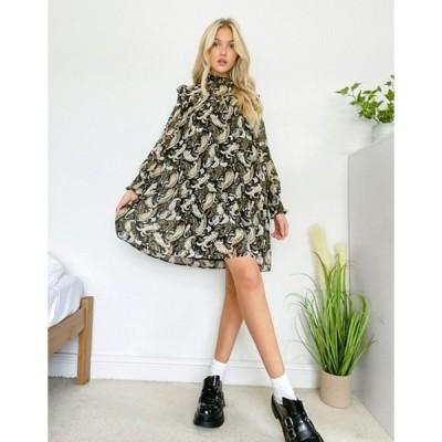 オブジェクト レディース ワンピース トップス Object mini smock dress with shirred neck in paisley print