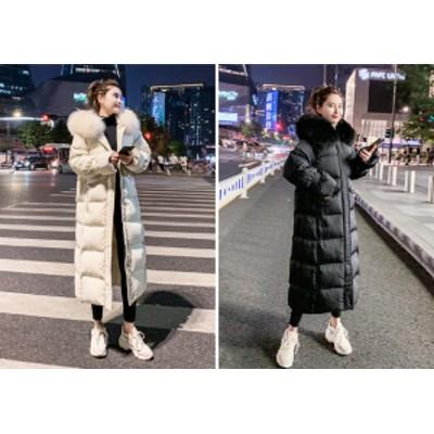 超ロングダウンコート ジャケット ファー付き オルチャン  ファッション 秋冬 大きいサイズ もこもこ 可愛い 防寒抜群 あったかい 中綿