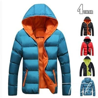 ダウンコート メンズ ジップアップ ジャケット ダウンジャケット ダウン 中綿ジャケット ブルゾン アウターフード付き 登山 冬保温 m-003