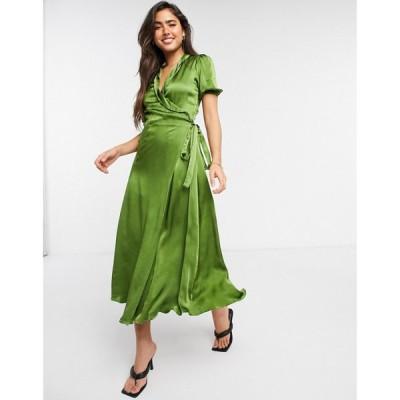 ゴースト Ghost レディース ワンピース ラップドレス ミドル丈 ワンピース・ドレス Opal Wrap Midi Dress In Olive Green オリーブ