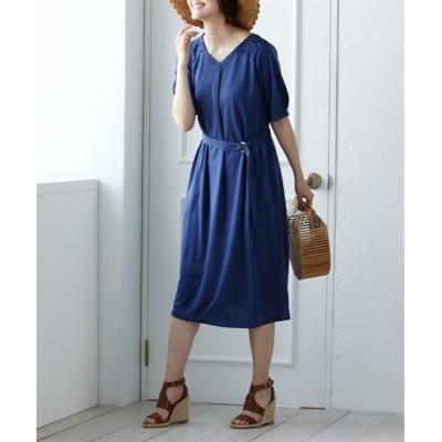 【大きいサイズ】 肩レース使い5分袖サックカットソーワンピース(オトナスマイル) ワンピース, plus size dress