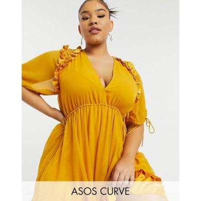 エイソス ASOS Curve レディース ワンピース ミニ丈 ワンピース・ドレス ASOS DESIGN Curve mini dress with satin trim ruffle and tie detail マスタード