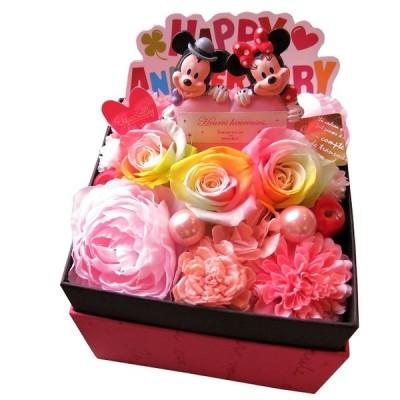 誕生日プレゼント 彼女 人気 ディズニー フラワーギフト レインボーローズ プリザーブドフラワー ミッキー ミニー ハート 結婚祝い 記念日 送別 退職祝い 発表会