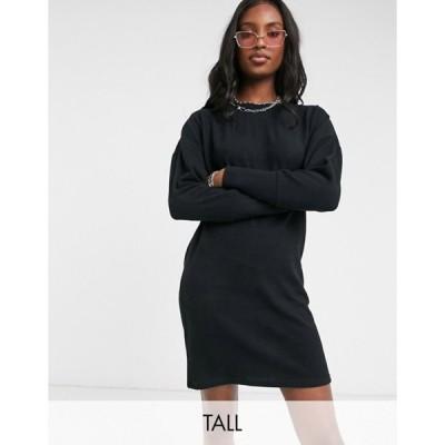 ノイジーメイトール レディース ワンピース トップス Noisy May Tall knitted dress in black