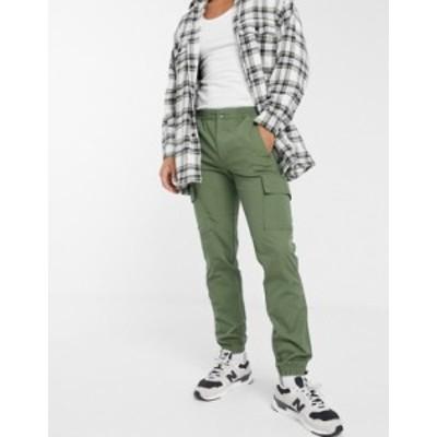 エイソス メンズ カジュアルパンツ ボトムス ASOS DESIGN slim cargo pants with toggle hem in khaki ripstop Khaki