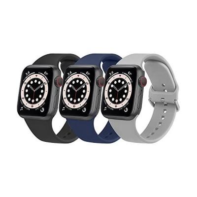 ATUP コンパチブル Apple Watch バンド 38mm 40mm 42mm 44mm, スポーツシリコーン交換バンド 防水ストラップ アップ