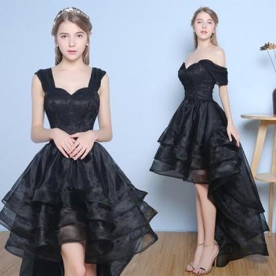 ショートドレス カラードレス ウェディングドレス 結婚式 パーティードレス 大きいサイズ ミニドレス ワンピース 披露宴 二次会 発表会 入学式[ ブラック]