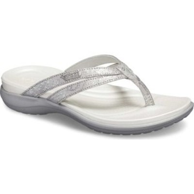 クロックス レディース スニーカー シューズ Capri Strappy Flip Flop Silver/Silver