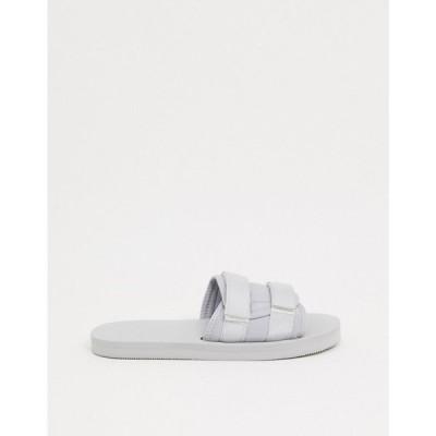 エイソス ASOS DESIGN メンズ サンダル シューズ・靴 Padded Tech Sliders In Light Grey グレー